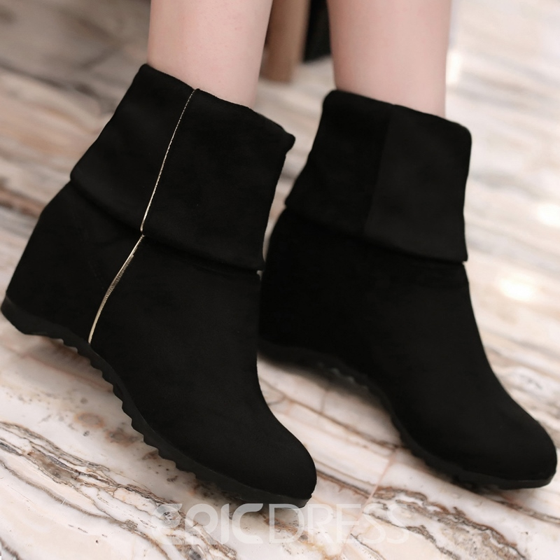 Ericdress Comfortable Solid Color Round Toe Boots