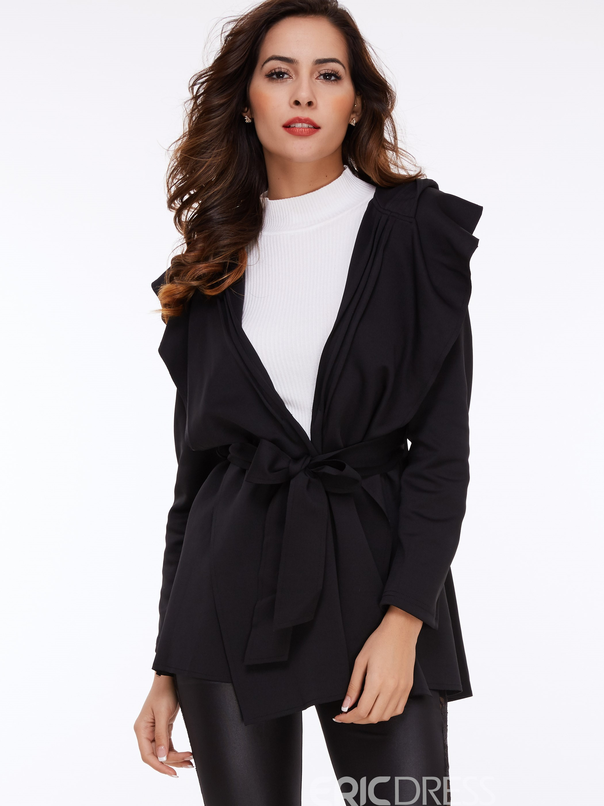 Ericdress Plain Hooded Trench Coat