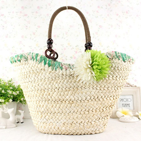 Ericdress Color Block Flower Decorated Knitted Tote Bag