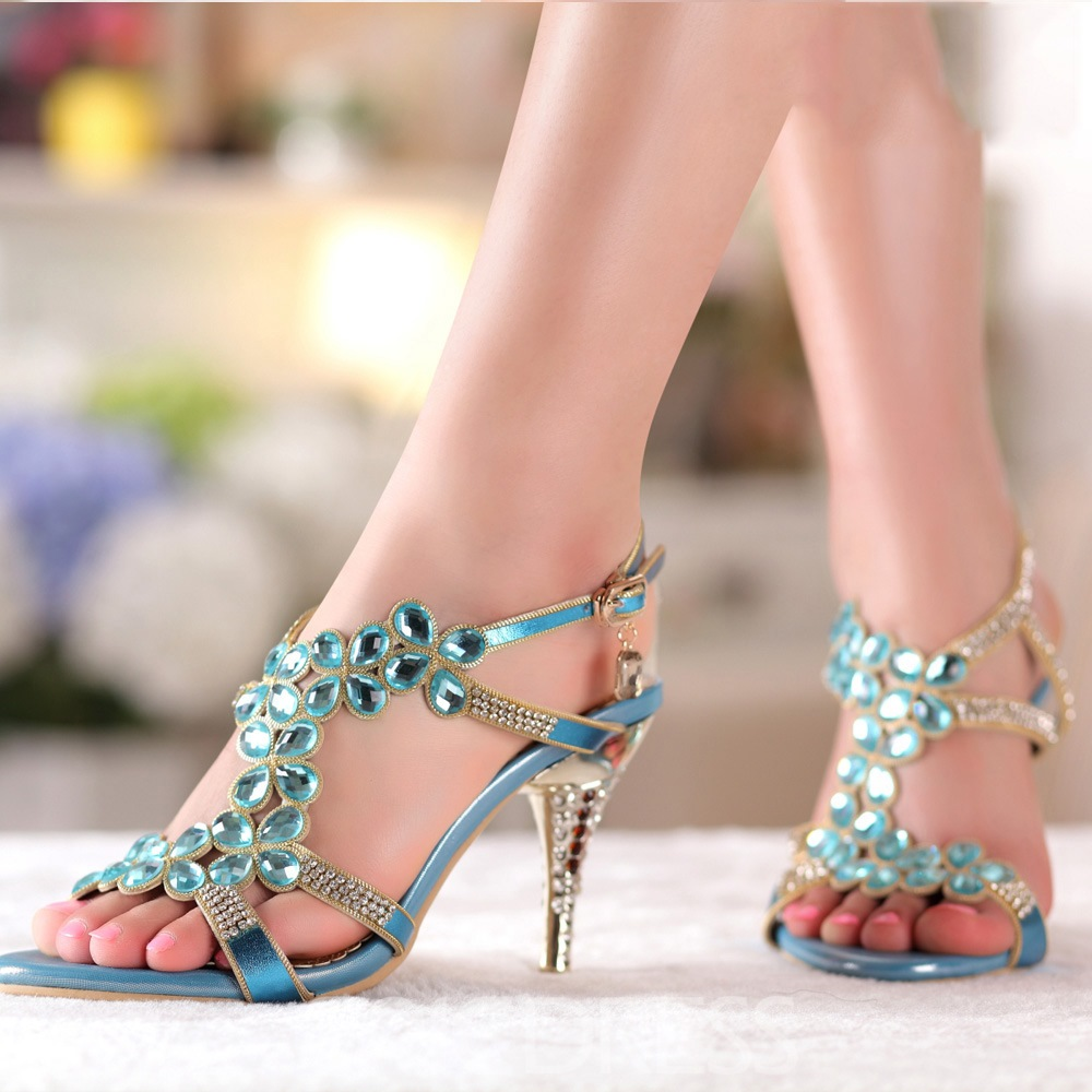 Ericdress Colorful Rhinestone Stiletto Sandals