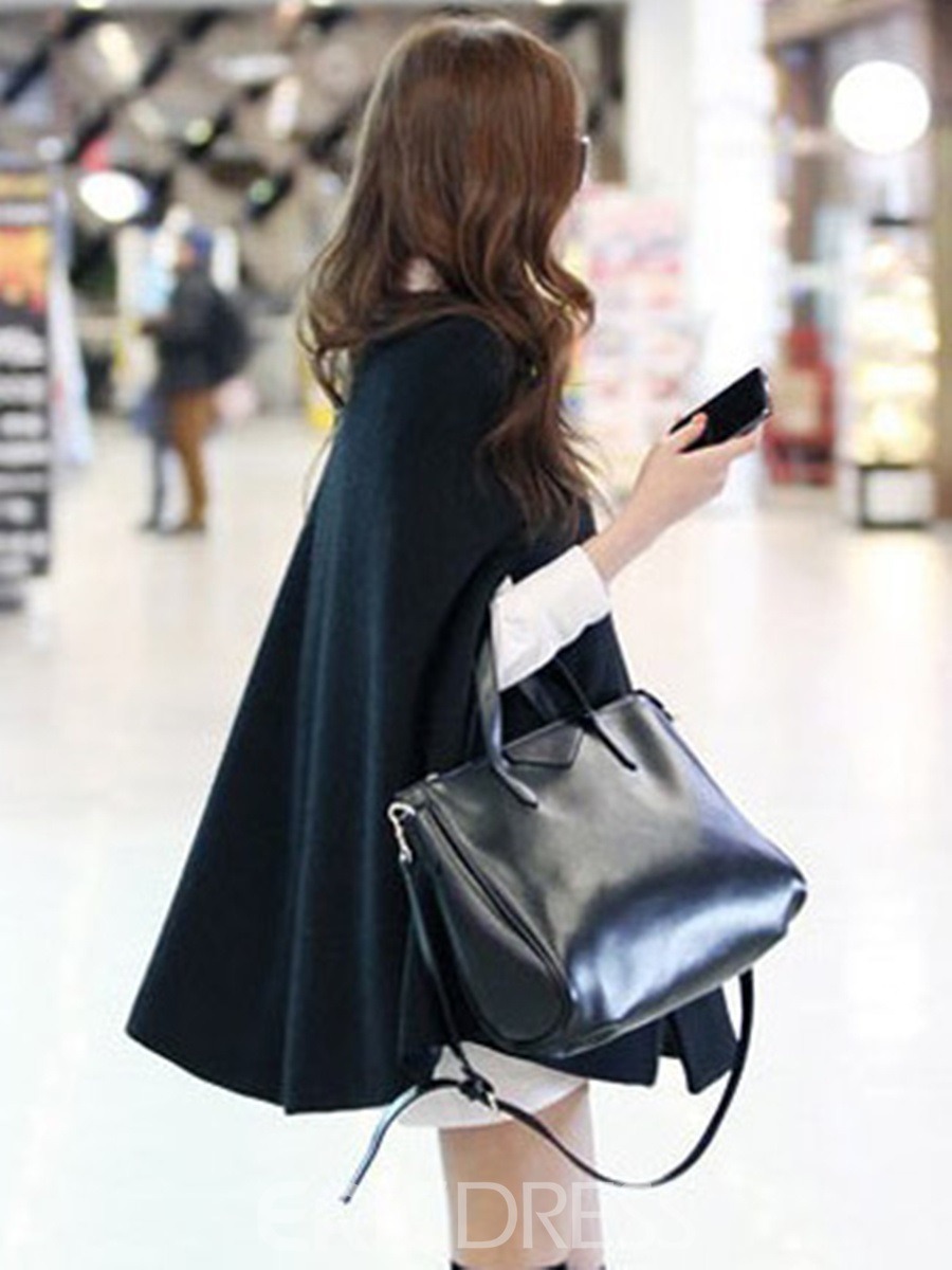 Deluxe Japanese Style Pure Color Cloak Black Trench Cape