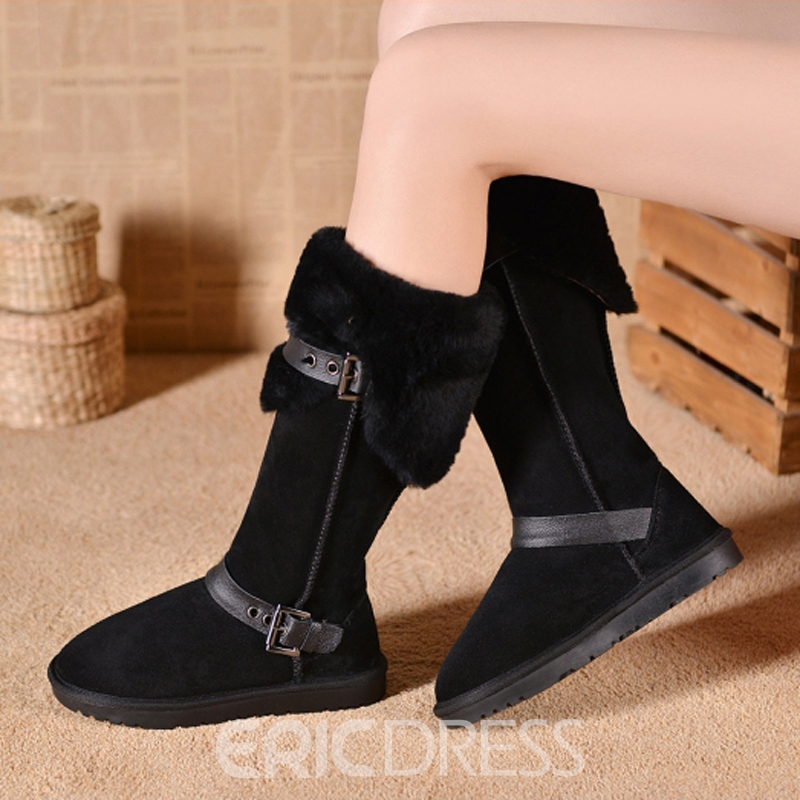 Ericdress Top Quality Suede Mid Calf Furry Boots