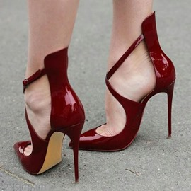 Ericdress Burgundy Cross Wrap Pointed Toe Stiletto Sandals