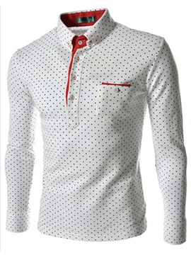 Lapel Single-Breasted Polka Dots Long Sleeves Men's Shirt