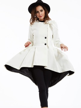 Ericdress Solid Color Slim Wave Cut Pleated Coat