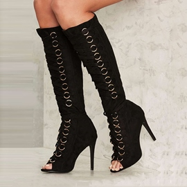 Ericdress Chic Black Metal Circle Lace Up Knee High Boots