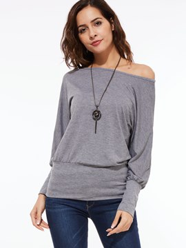 Ericdress Loose Oblique Collar T-Shirt