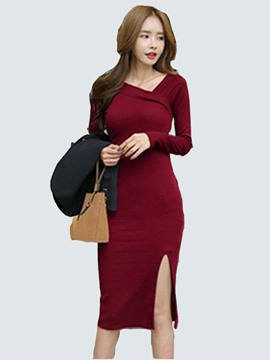 Ericdress Asymmetric Square Neck Patchwork Split Sheath Dress