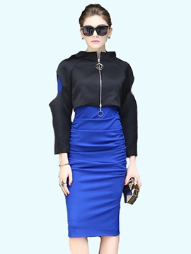 Ericdress Stand Collar Coat And Bodycon Dress Suit