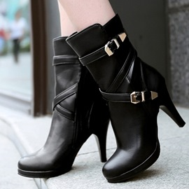Hot Selling Round Toe Platform Metal Buckle Short Boots