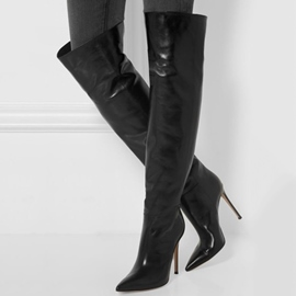 Ericdress Sexy Black Pointed Toe Over-the-Knee Boots
