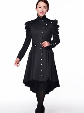 Ericdress simple boutonnage asymétrique vague coupe Coat