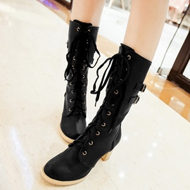 Ericdress Lace up Chunky Heel Knee High Boots