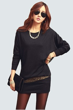 Ericdress Patchwork Bat Sleeves Casual Dress