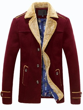 Ericdress Lapel Fur-Decorated Single-Breasted Men's Coat