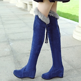 Ericdress Pretty Suede Furry Over The Knee Boots
