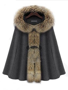 Ericdress Batwing Faux Fur Collar Hooded Coat