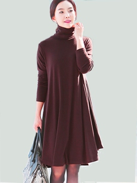Ericdress Autumn Solid Stand Collar Loose Casual Dress