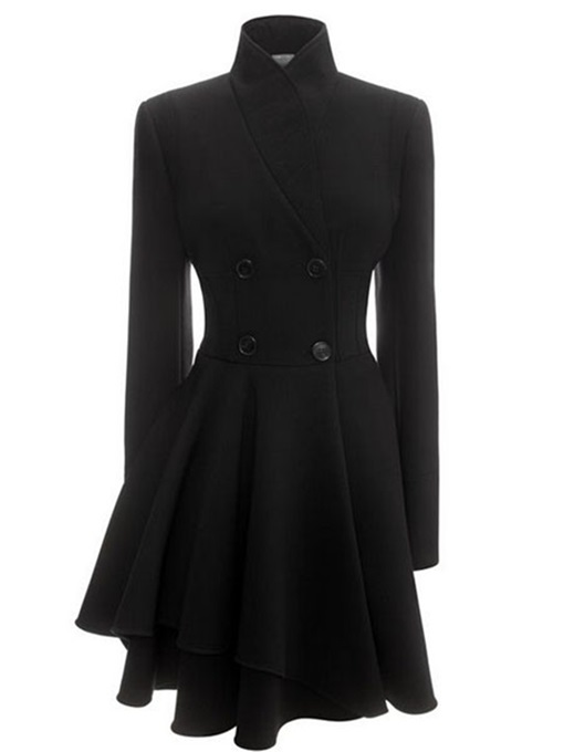 Ericdress Simple Stand Collar Coat