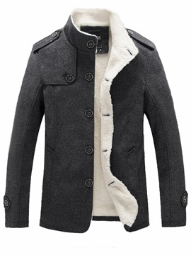Ericdress Solid Color Slim Stand Collar Men's Wool Coat