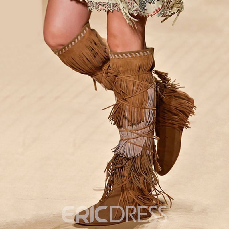 Ericdress Retro Lace-Up Back Tassel Knee High Boots