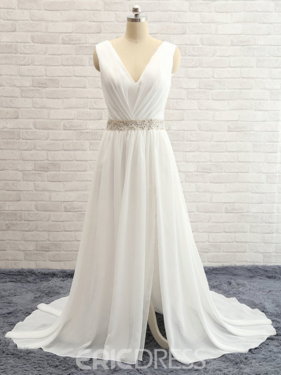 Ericdress Charming V Neck Split Front Chiffon Beach Wedding Dress