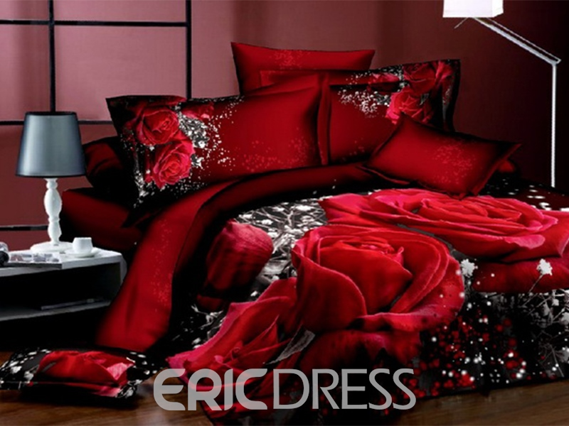 ericdress flowers 4 piece cotton bedding sets 10564281 - ericdress