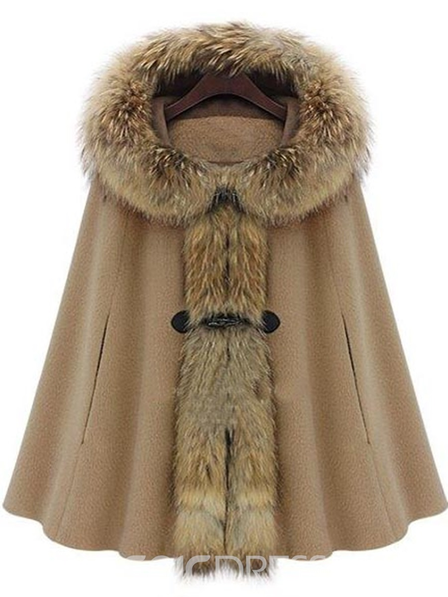 Ericdress Batwing Fur Collar Hooded Coat