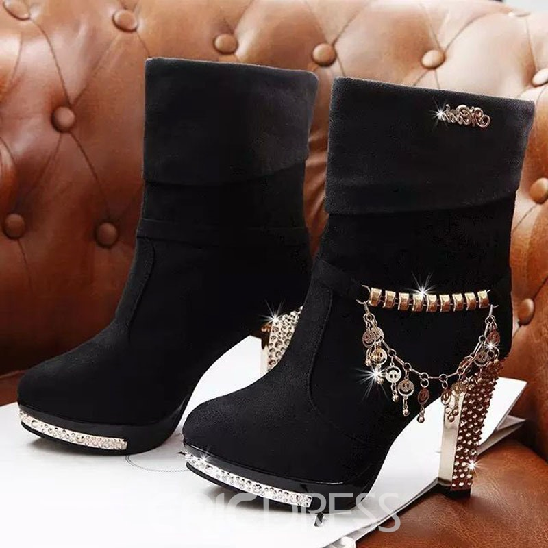 Ericdress Metal Tassels Decoration High-heel Boots