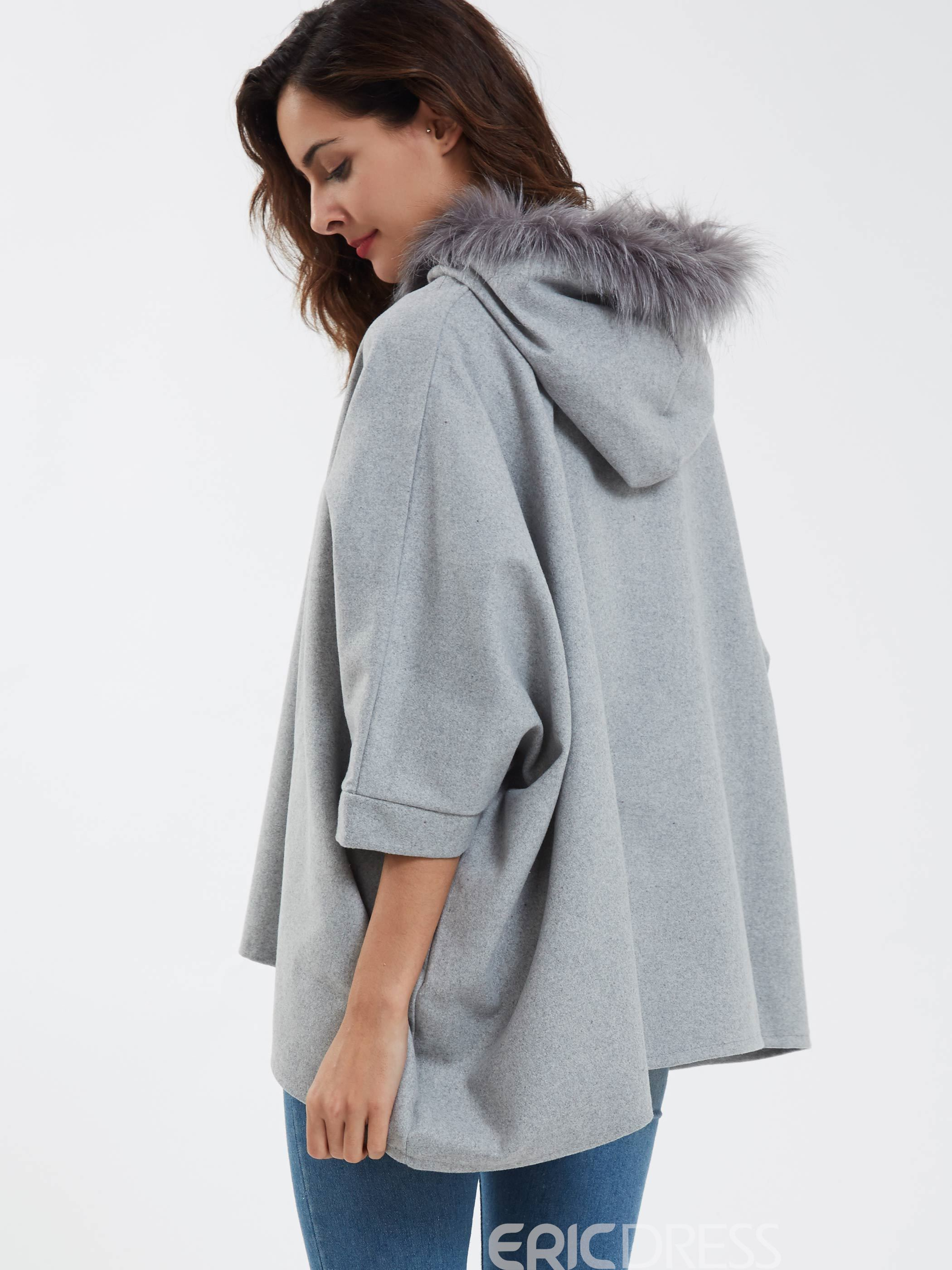 Ericdress Asymmetric Hem Hooded Coat