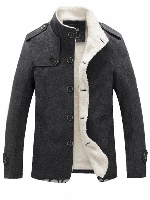 Ericdress Solid Color Slim Stand Collar Men's Small Size Wool Coat