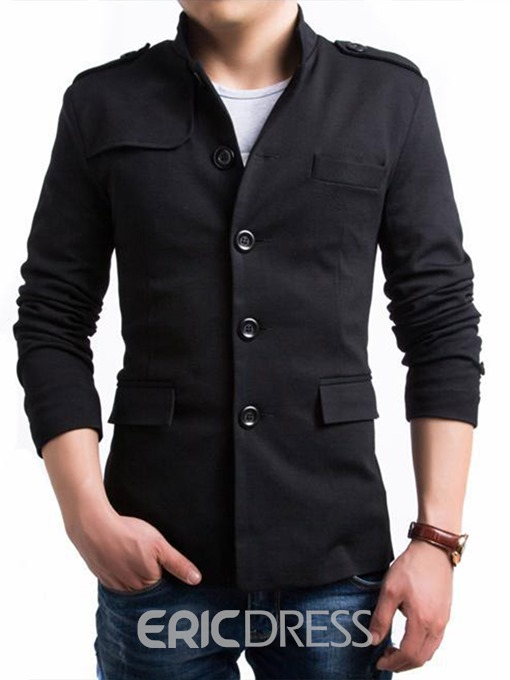 Ericdress Stand Collar Solid Color Single-Breasted Men's Coat