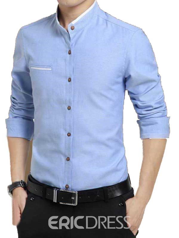 Ericdress Plain Stand Collar Autumn Men's Shirt