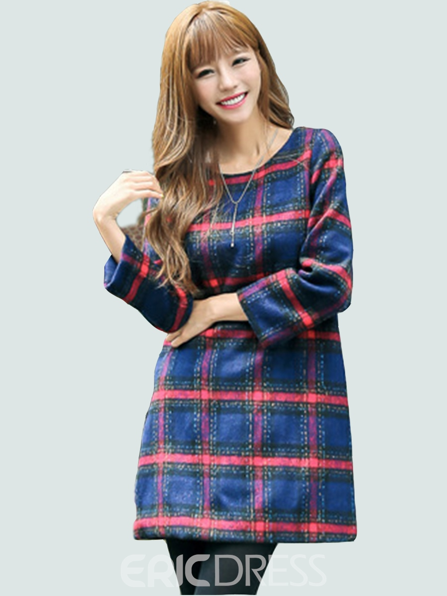 Ericdress Plaid Round Collar Trumpet Loose Casual Dress