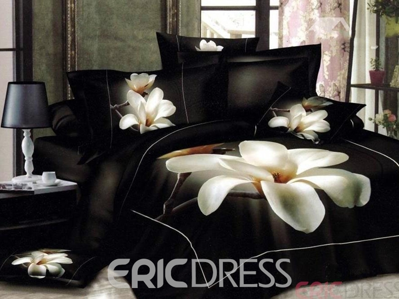 White Big Magnolia Flower Print 4-Piece Duvet Cover 3D Bedding Sets