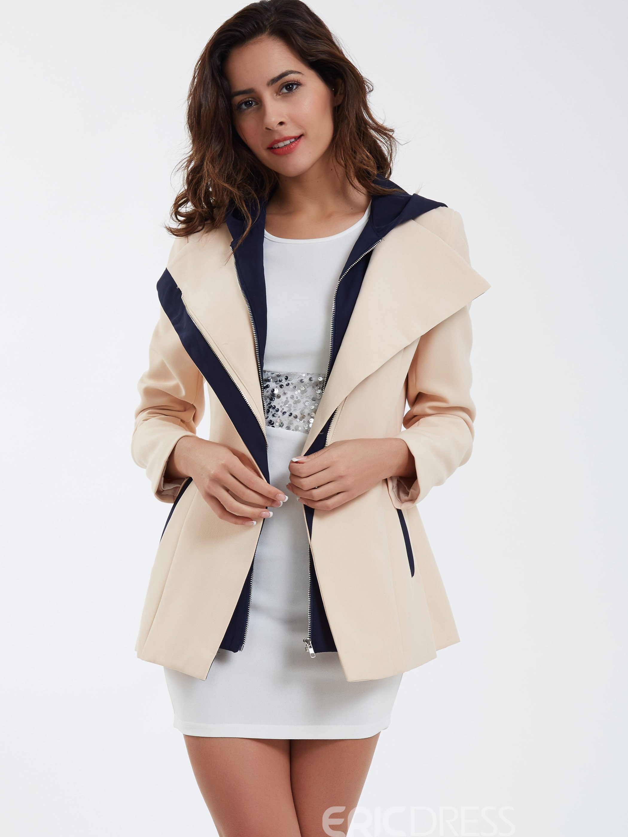 Ericdress Casual Color Block Coat