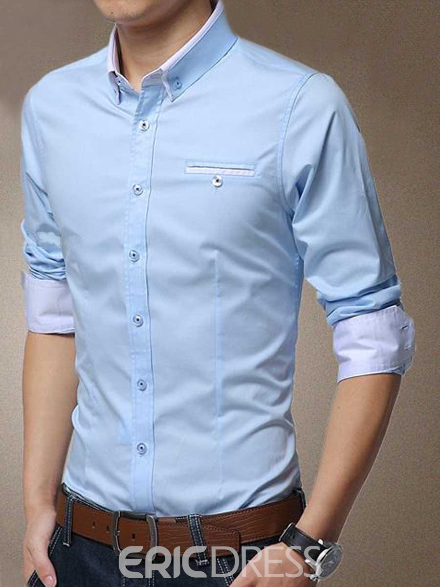 Ericdress Color Block Anti Wrinkle Long Sleeve Men's Shirt