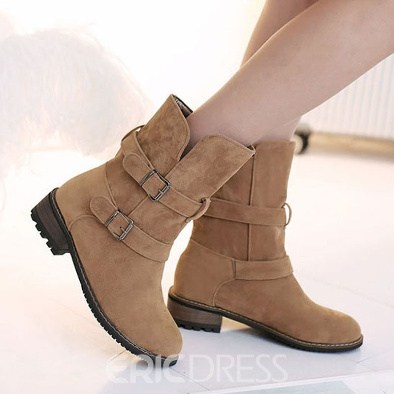 Ericdress All-matched Buckles Decoration Ankle Boots