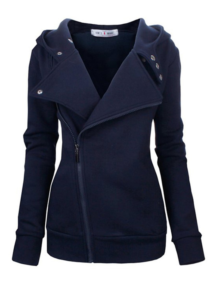 Ericdress Plain Zipper Lapel Cool Hoodie