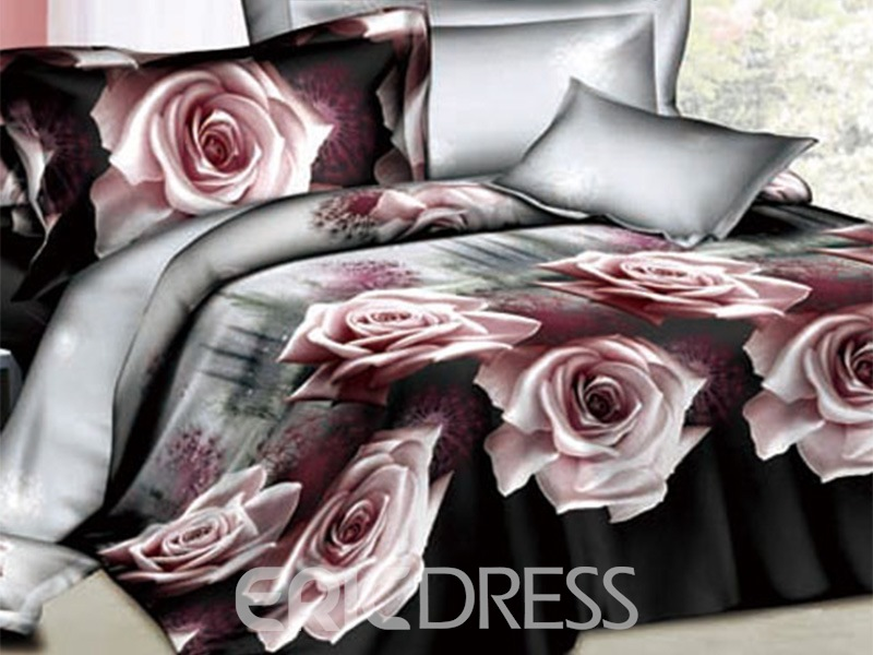 beautiful pink rose printed 4 piece brown comforter 3d bedding
