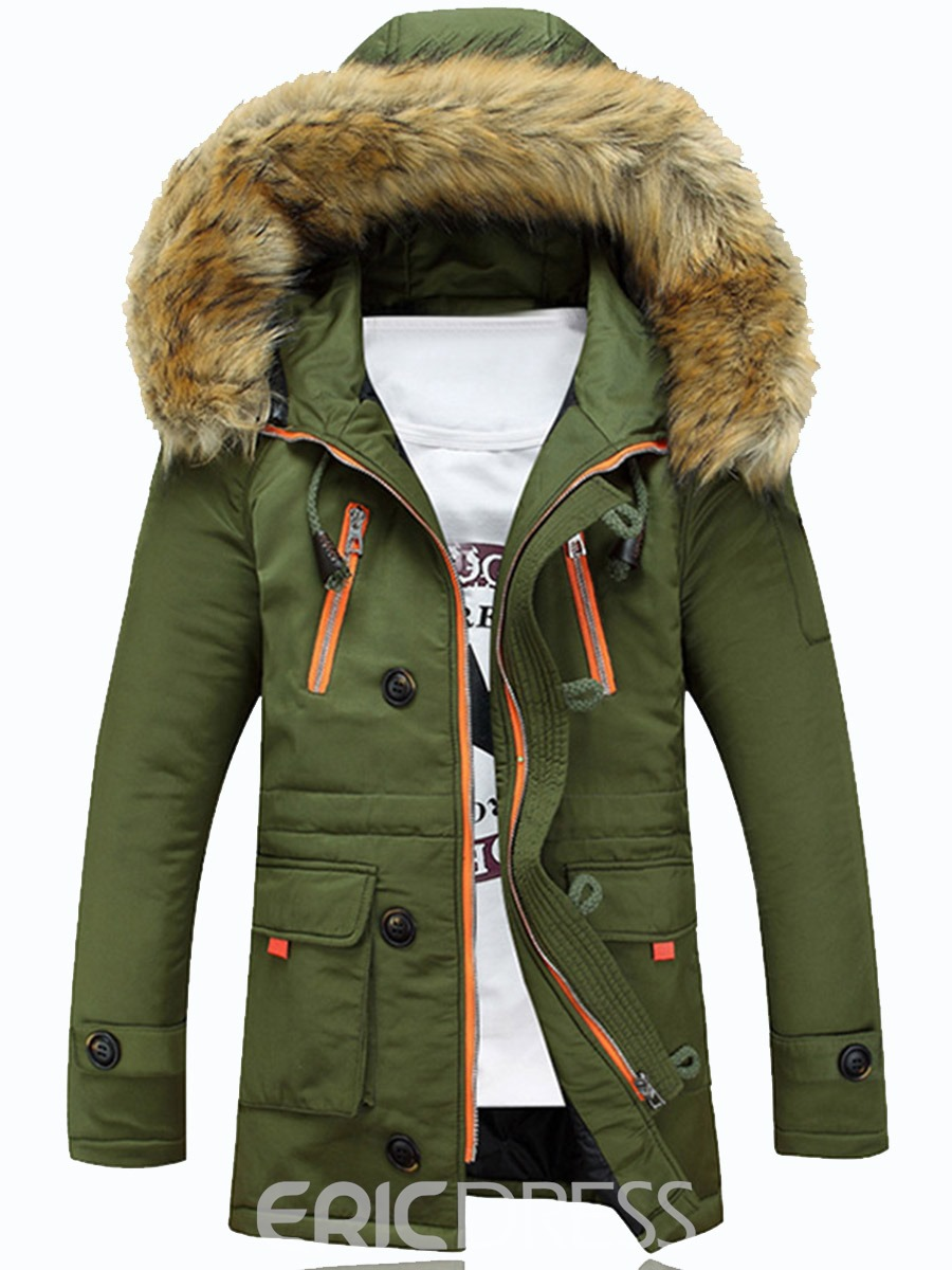 Ericdress Faux Fur Collar Thicken Outdoor Warm Winter Men ...