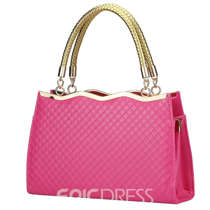 OL Style Patent Leather Grid Handbag for Women