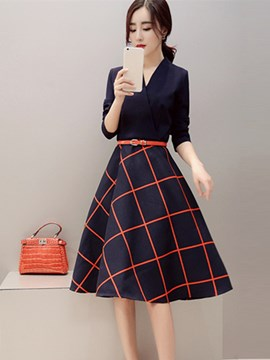 Ericdress Autumn A-Line Patchwork Casual Dress