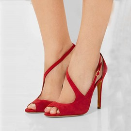 Ericdress Chic rot Wildleder Peep Toe Stiletto Sandaletten