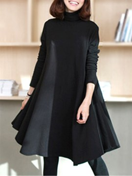 Ericdress Loose Long Sleeve Turtleneck Casual Dress
