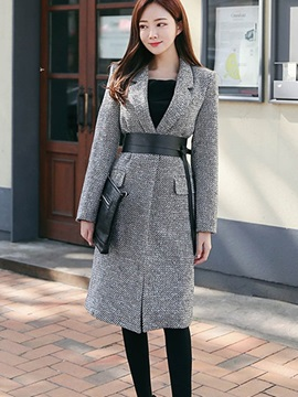 Ericdress Color Block Slim Belt Lady Coat