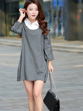 Ericdress Patchwork Plus Size Casual Dress