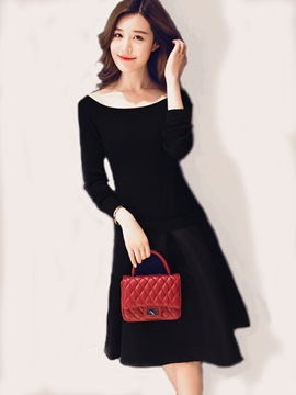 Ericdress Round Collar Pleated Patchwork Little Black Dress