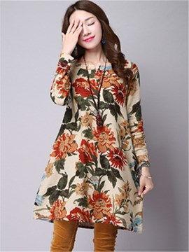 Ericdress Simple estampado Floral redondo Collar suelto vestido Casual