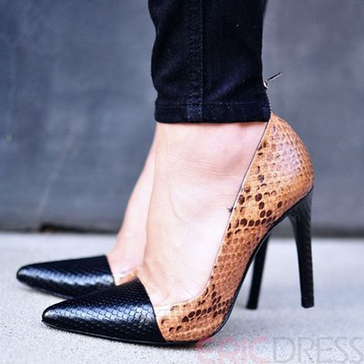 Ericdress Snake Print Patchwork Point Toe Pumps